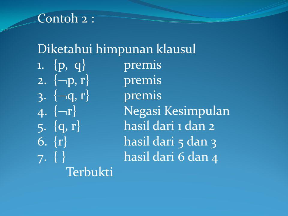 Contoh 2 : Diketahui himpunan klausul. {p, q} premis. {p, r} premis. {q, r} premis. {r} Negasi Kesimpulan.
