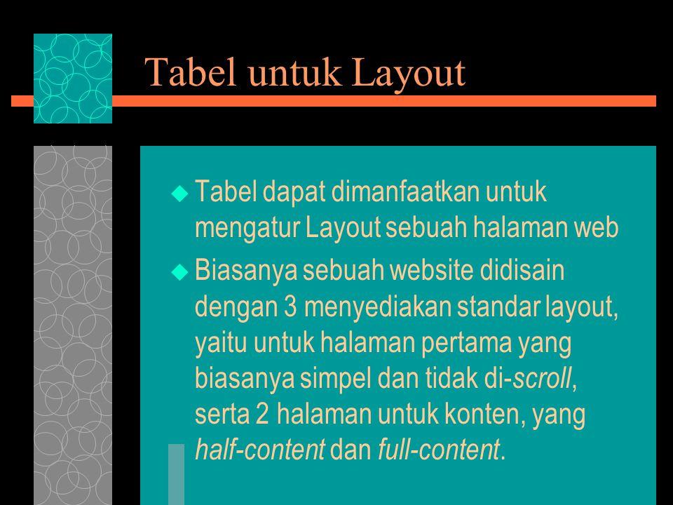 Tabel untuk Layout Tabel dapat dimanfaatkan untuk mengatur Layout sebuah halaman web.