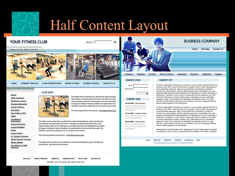 Half Content Layout