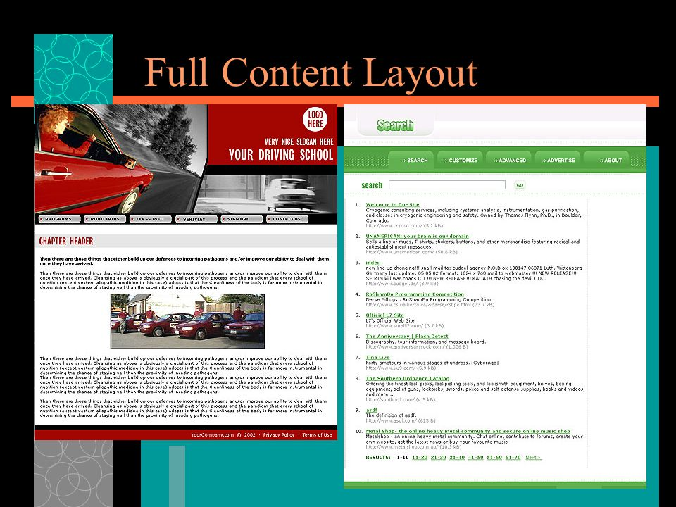 Full Content Layout