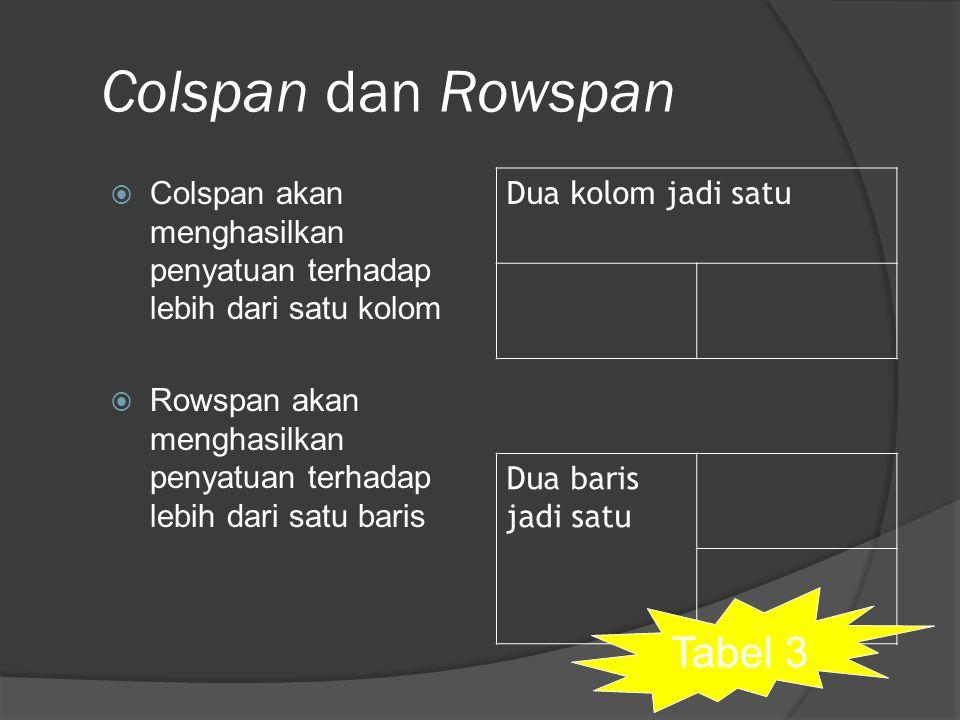 Colspan dan Rowspan Tabel 3 Dua kolom jadi satu