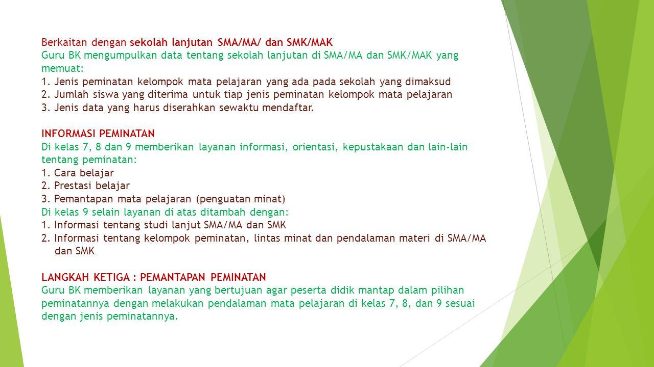 Berkaitan dengan sekolah lanjutan SMA/MA/ dan SMK/MAK Guru BK mengumpulkan data tentang sekolah lanjutan di SMA/MA dan SMK/MAK yang memuat: 1.