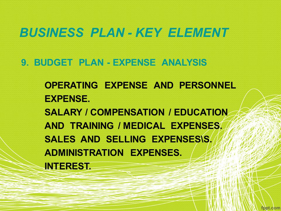 BUSINESS PLAN - KEY ELEMENT