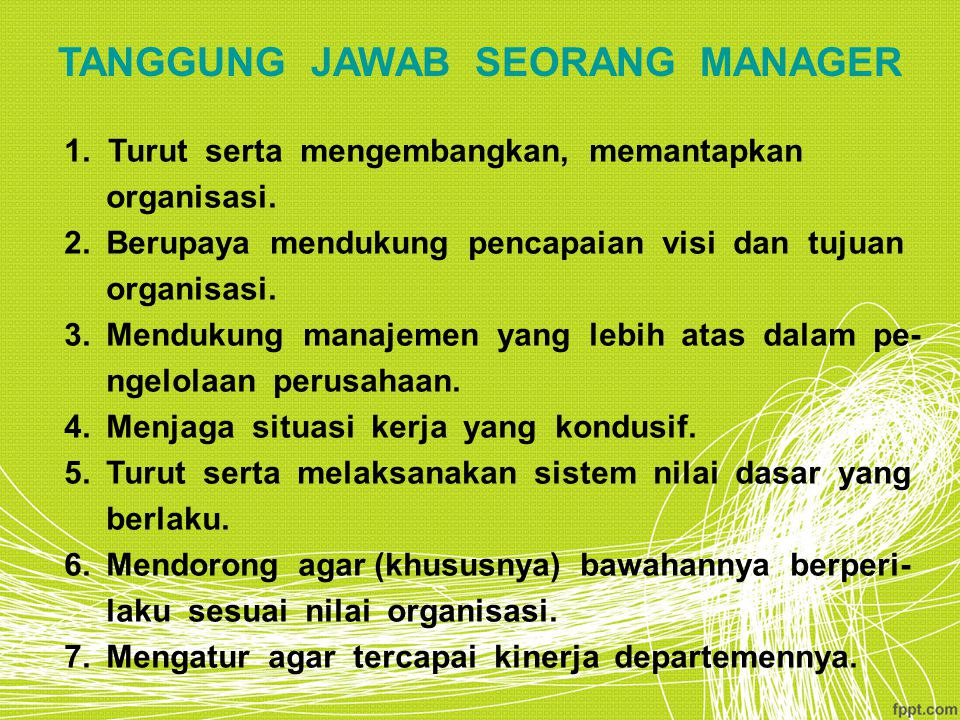 TANGGUNG JAWAB SEORANG MANAGER