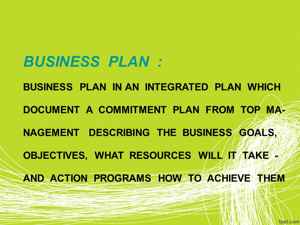 BUSINESS PLAN : BUSINESS PLAN IN AN INTEGRATED PLAN WHICH