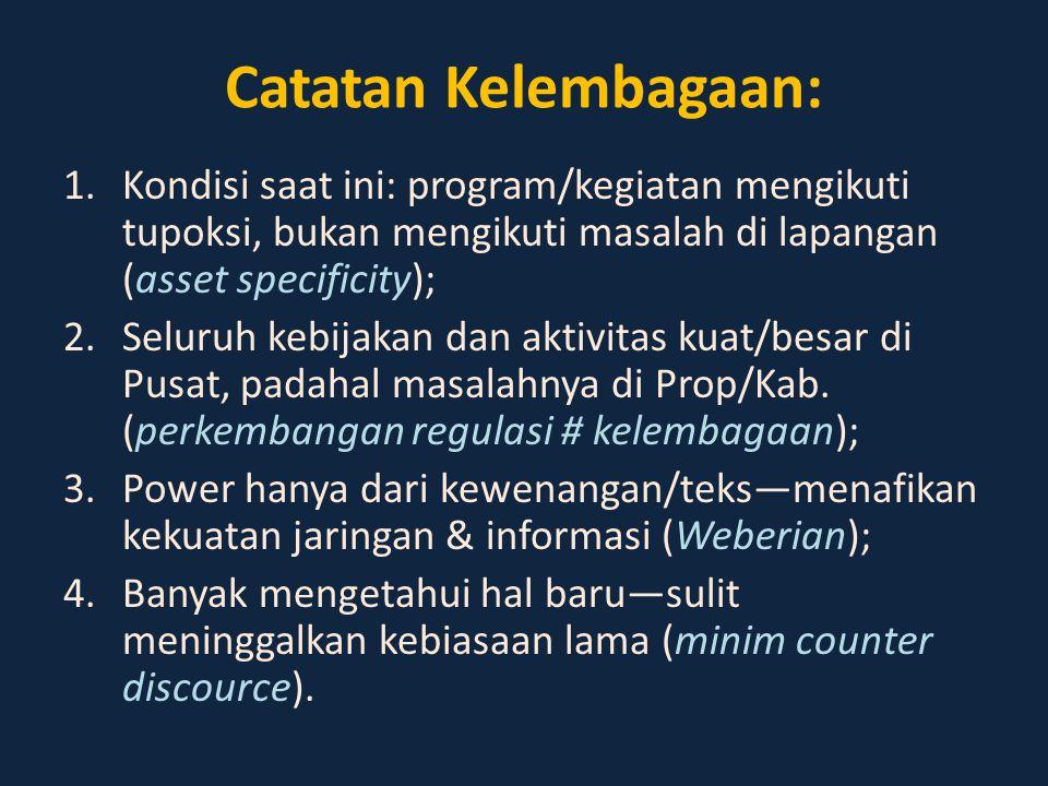 Catatan Kelembagaan: Kondisi saat ini: program/kegiatan mengikuti tupoksi, bukan mengikuti masalah di lapangan (asset specificity);