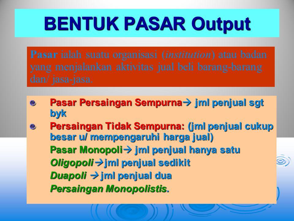 BENTUK PASAR Output Pasar ialah suatu organisasi (institution) atau badan yang menjalankan aktivitas jual beli barang-barang dan/ jasa-jasa.
