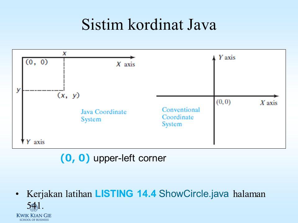 Sistim kordinat Java (0, 0) upper-left corner