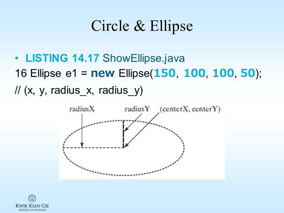 Circle & Ellipse LISTING 14.17 ShowEllipse.java