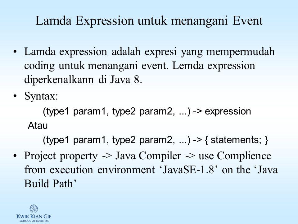 Lamda Expression untuk menangani Event