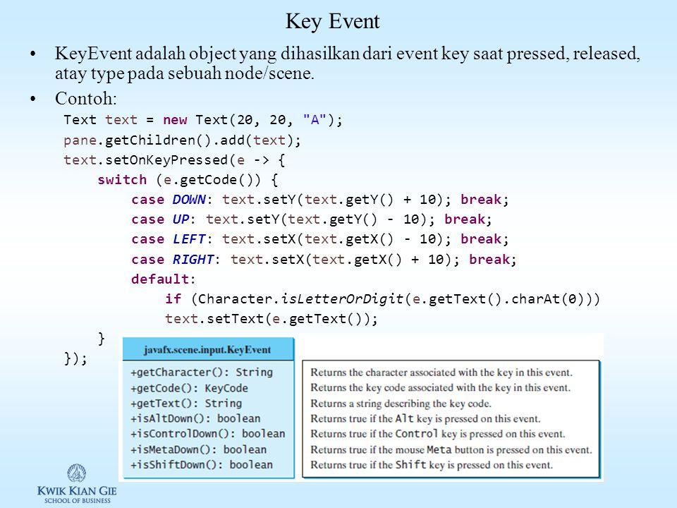 Key Event KeyEvent adalah object yang dihasilkan dari event key saat pressed, released, atay type pada sebuah node/scene.