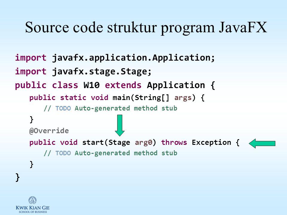 Source code struktur program JavaFX