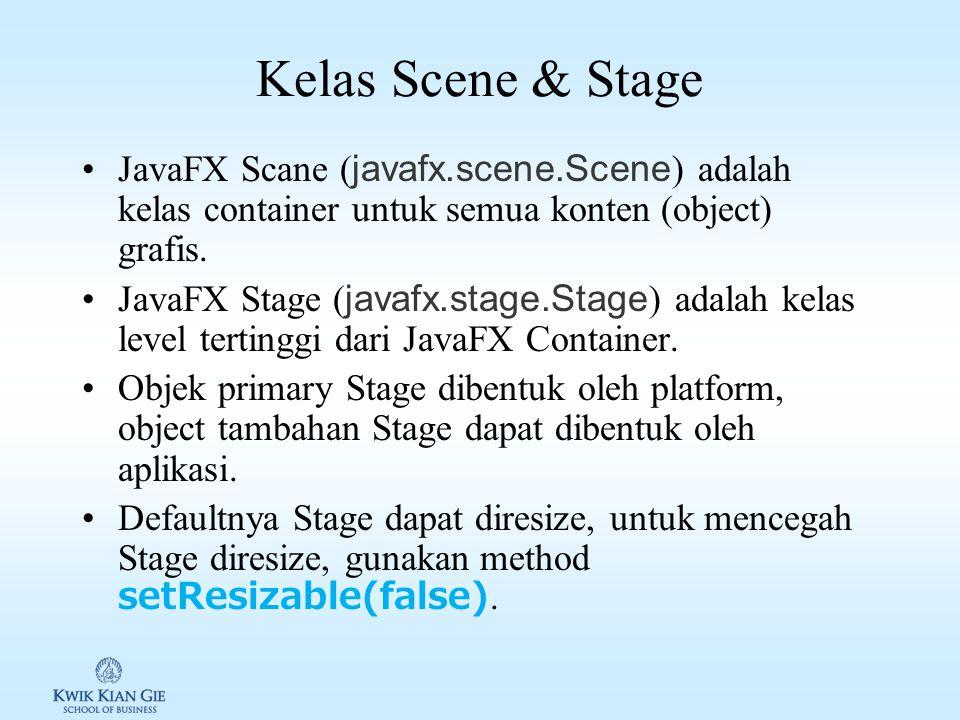 Kelas Scene & Stage JavaFX Scane (javafx.scene.Scene) adalah kelas container untuk semua konten (object) grafis.