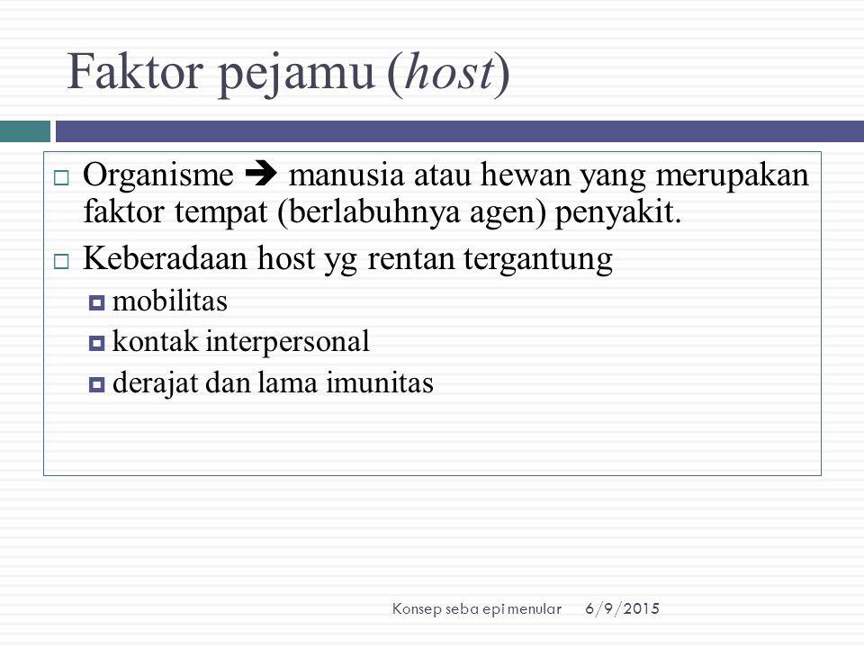 Faktor pejamu (host) Organisme  manusia atau hewan yang merupakan faktor tempat (berlabuhnya agen) penyakit.