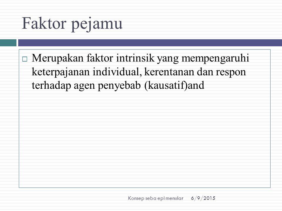 Faktor pejamu Merupakan faktor intrinsik yang mempengaruhi keterpajanan individual, kerentanan dan respon terhadap agen penyebab (kausatif)and.