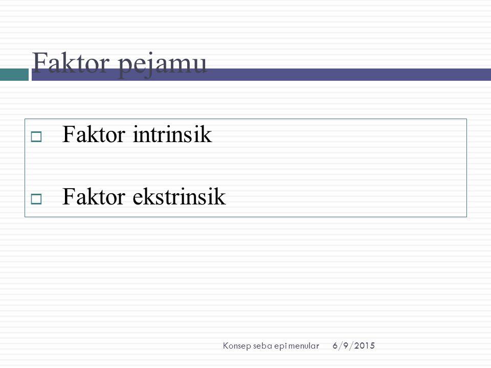 Faktor pejamu Faktor intrinsik Faktor ekstrinsik