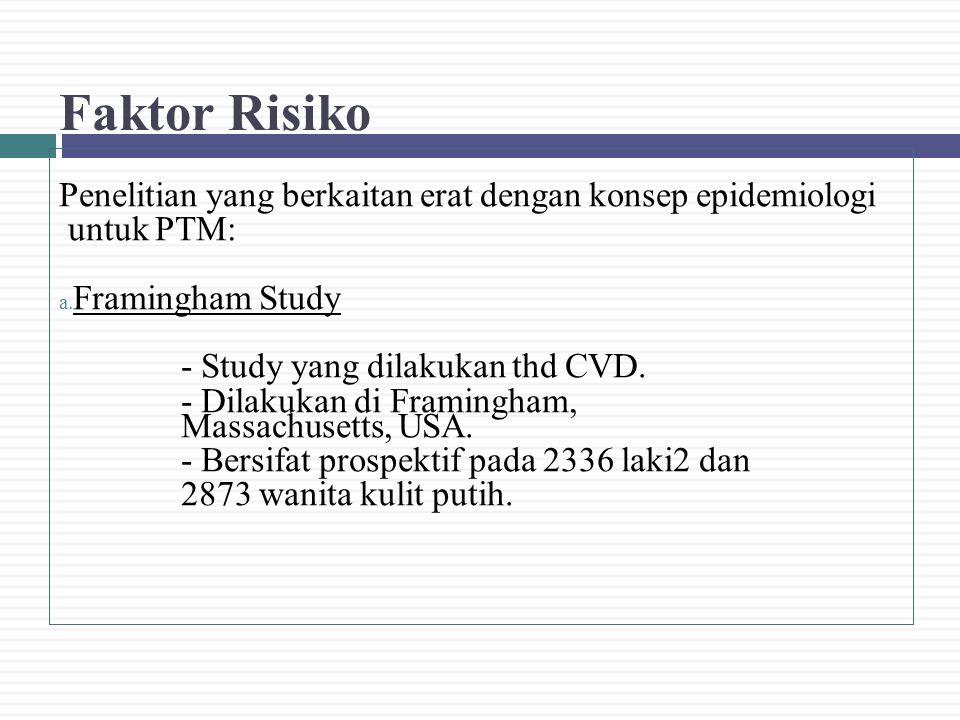 Faktor Risiko Penelitian yang berkaitan erat dengan konsep epidemiologi. untuk PTM: Framingham Study.