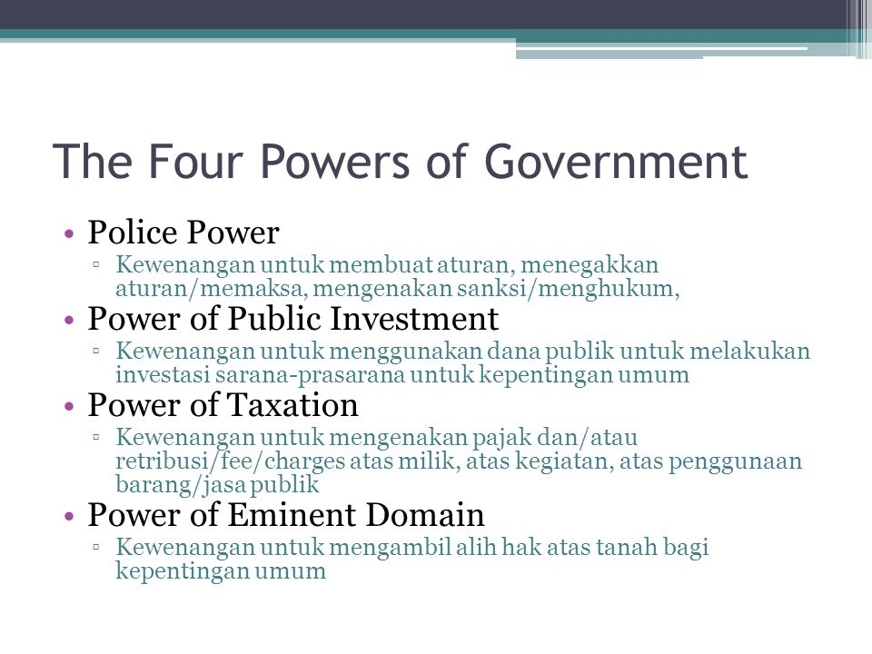 The Four Powers of Government