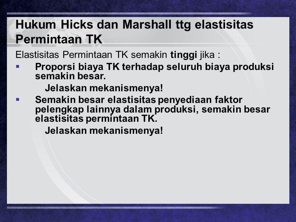 Hukum Hicks dan Marshall ttg elastisitas Permintaan TK