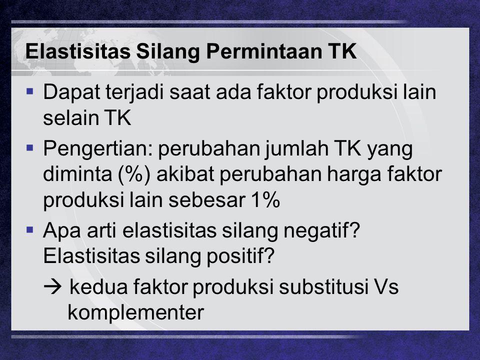 Elastisitas Silang Permintaan TK