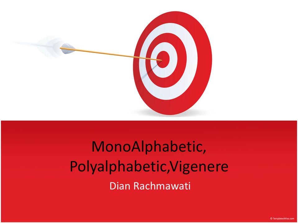 MonoAlphabetic, Polyalphabetic,Vigenere
