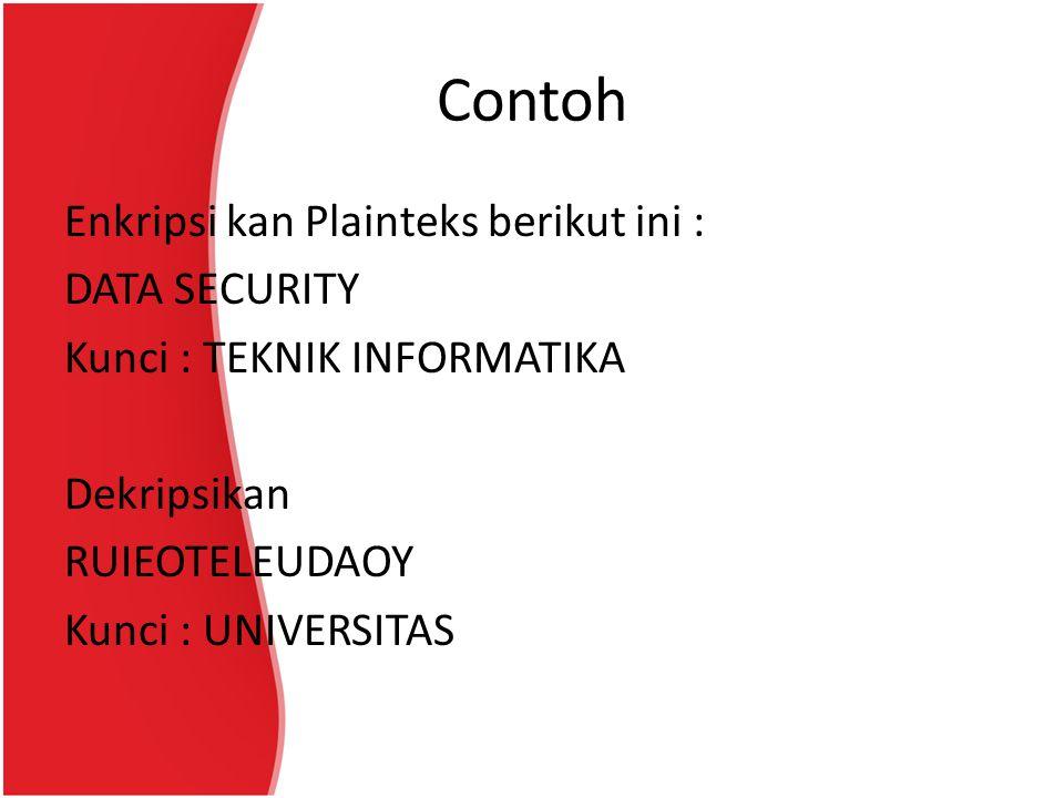 Contoh Enkripsi kan Plainteks berikut ini : DATA SECURITY Kunci : TEKNIK INFORMATIKA Dekripsikan RUIEOTELEUDAOY Kunci : UNIVERSITAS