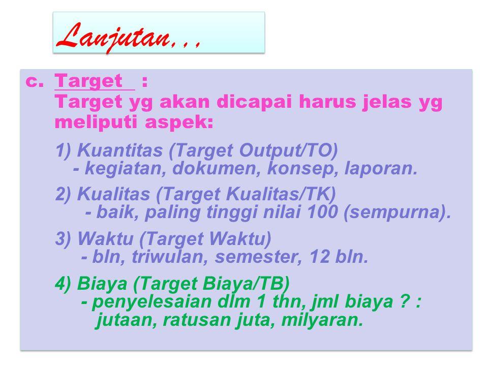 Lanjutan,,, Target : Target yg akan dicapai harus jelas yg meliputi aspek: 1) Kuantitas (Target Output/TO)