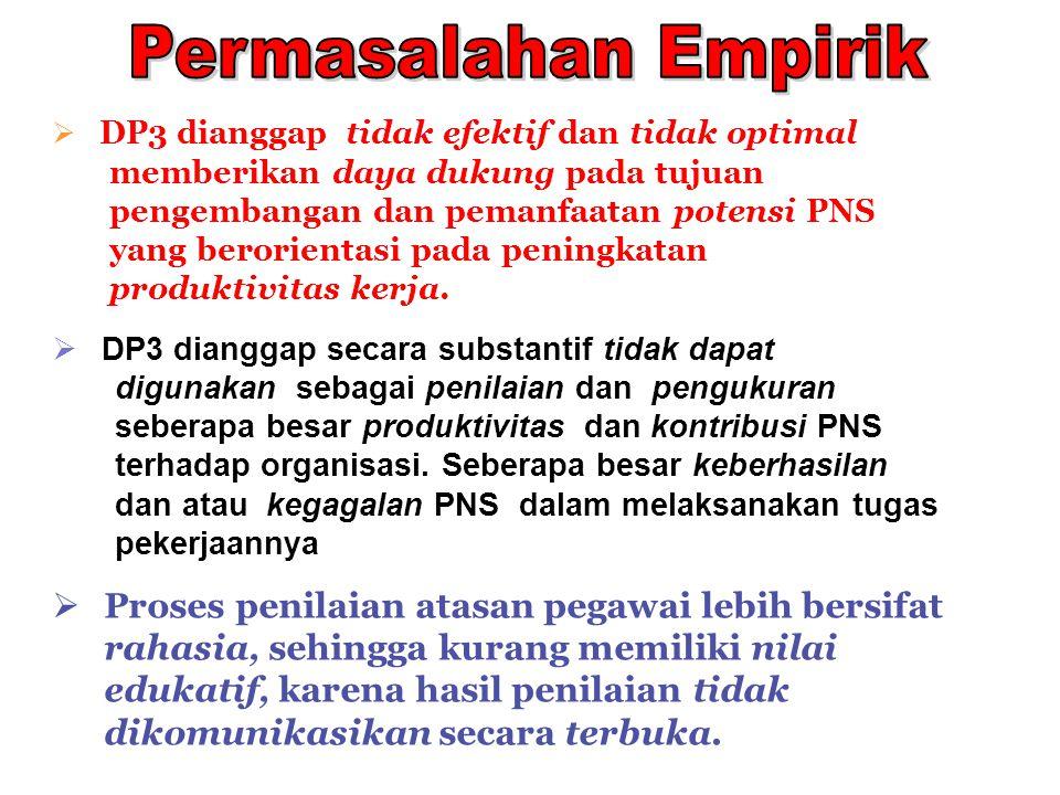 Permasalahan Empirik DP3 dianggap tidak efektif dan tidak optimal. memberikan daya dukung pada tujuan.