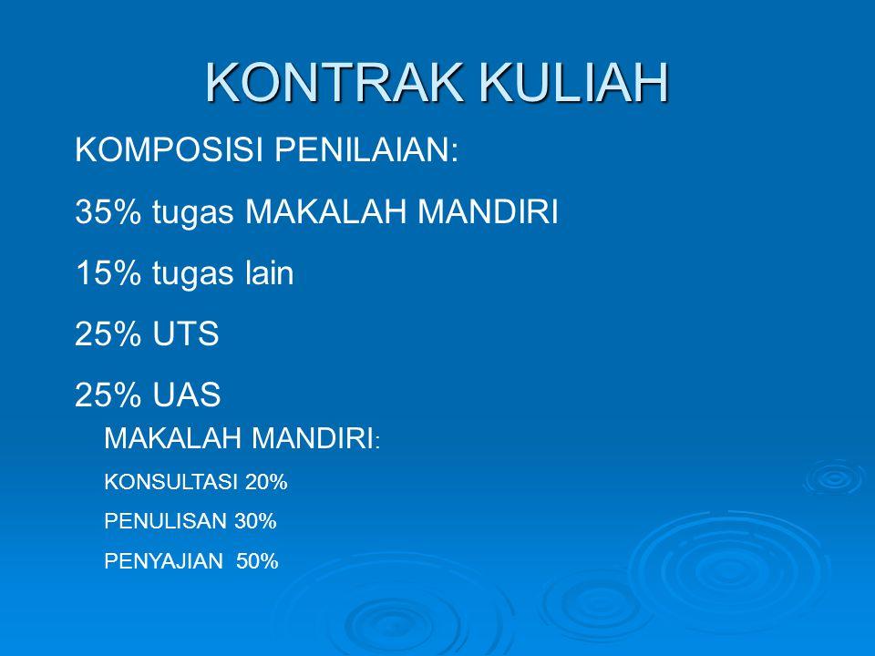 KONTRAK KULIAH KOMPOSISI PENILAIAN: 35% tugas MAKALAH MANDIRI
