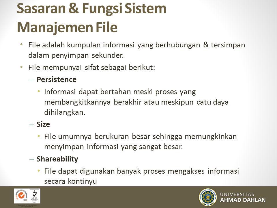 Sasaran & Fungsi Sistem Manajemen File