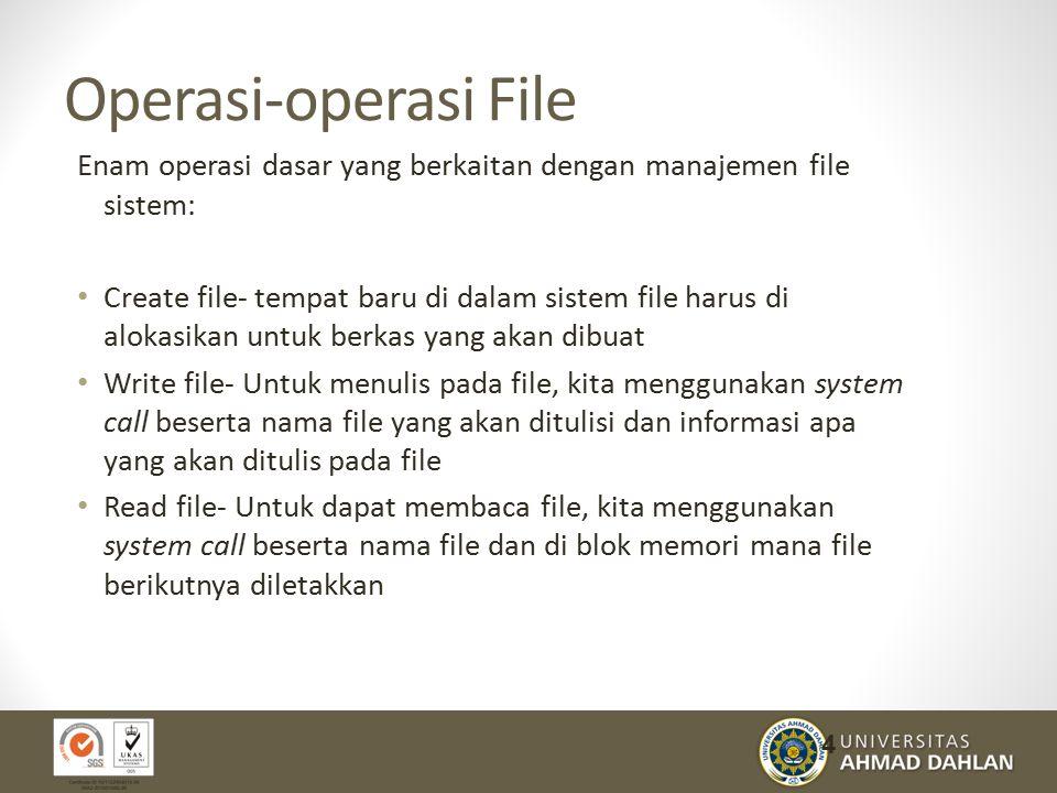Operasi-operasi File Enam operasi dasar yang berkaitan dengan manajemen file sistem: