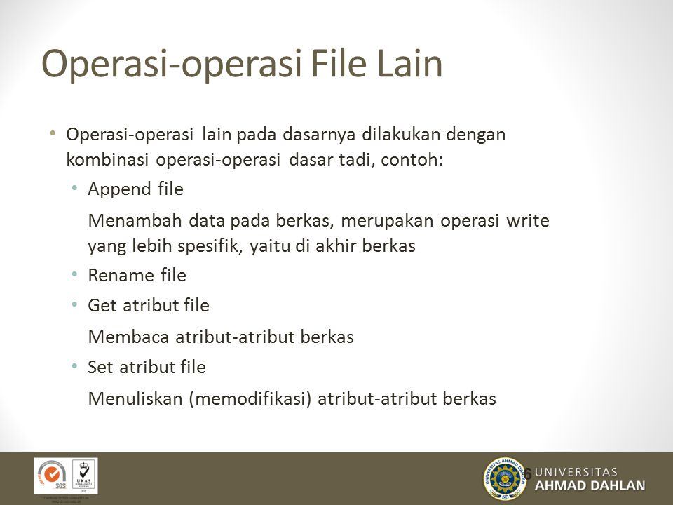 Operasi-operasi File Lain
