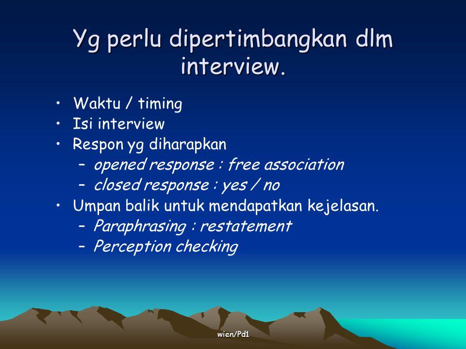 Yg perlu dipertimbangkan dlm interview.