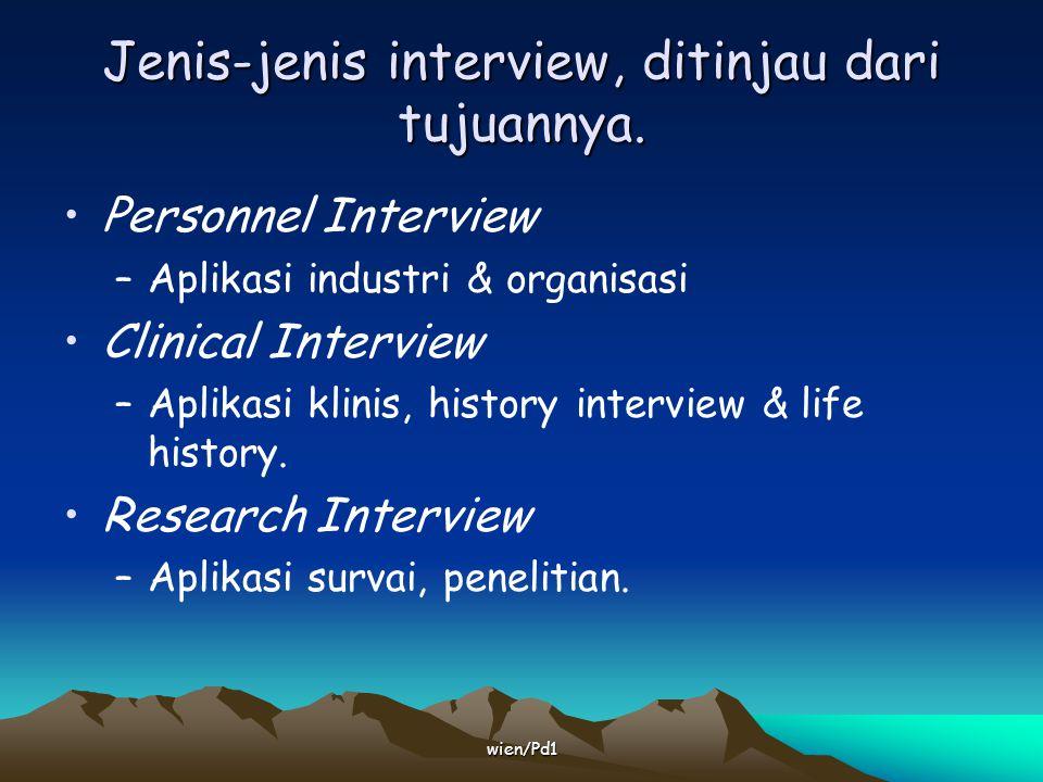 Jenis-jenis interview, ditinjau dari tujuannya.