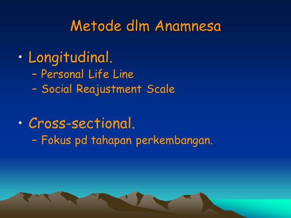 Metode dlm Anamnesa Longitudinal. Cross-sectional. Personal Life Line