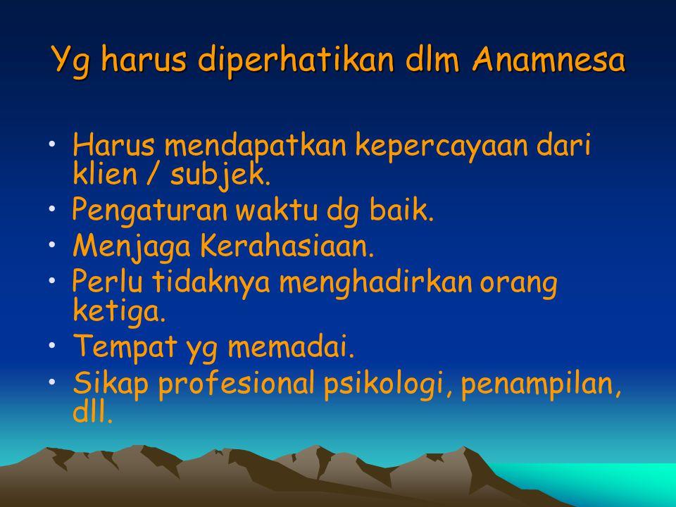 Yg harus diperhatikan dlm Anamnesa
