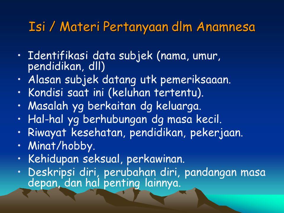 Isi / Materi Pertanyaan dlm Anamnesa