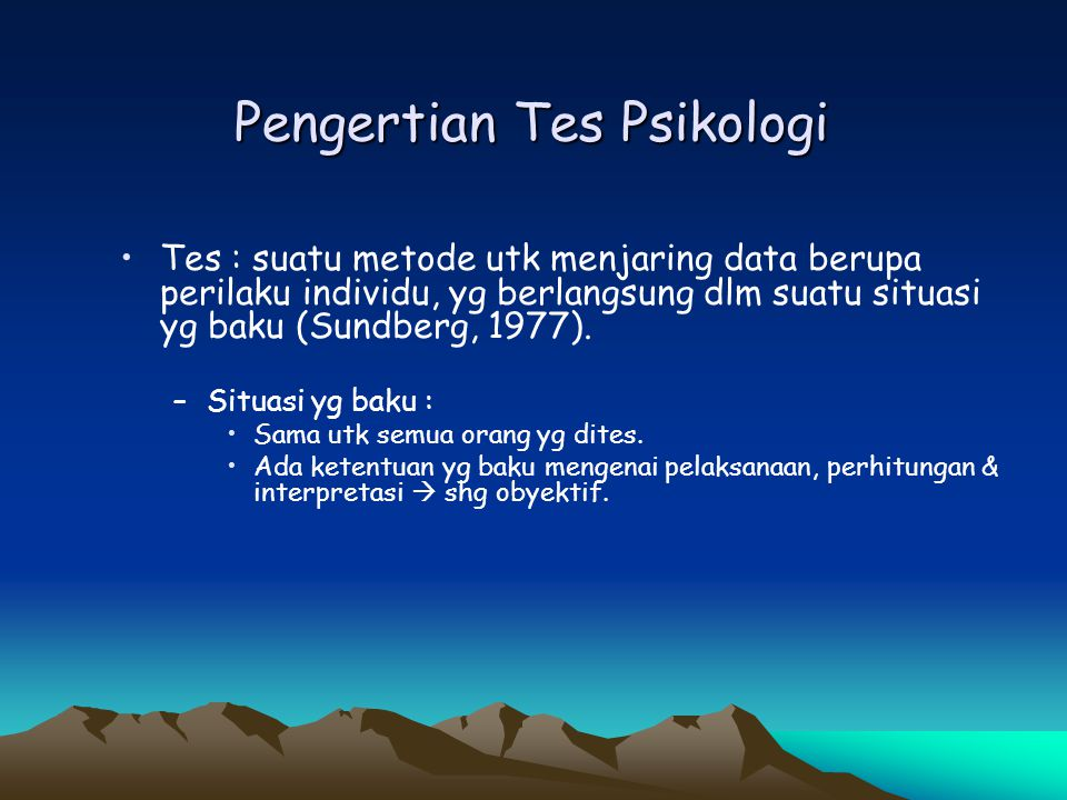 Pengertian Tes Psikologi
