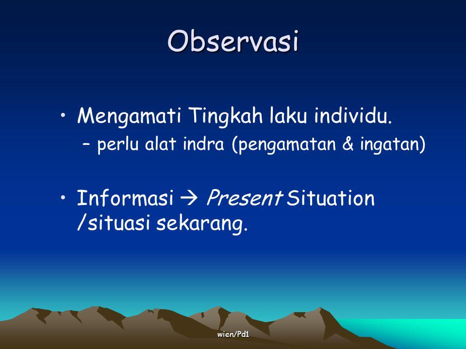 Observasi Mengamati Tingkah laku individu.