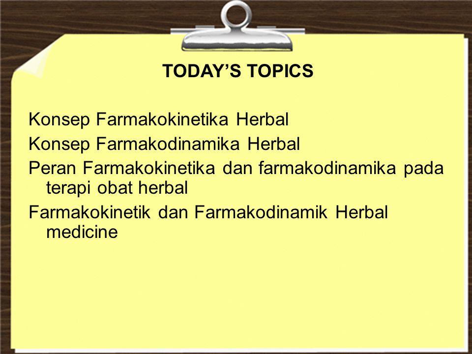 TODAY'S TOPICS Konsep Farmakokinetika Herbal. Konsep Farmakodinamika Herbal. Peran Farmakokinetika dan farmakodinamika pada terapi obat herbal.