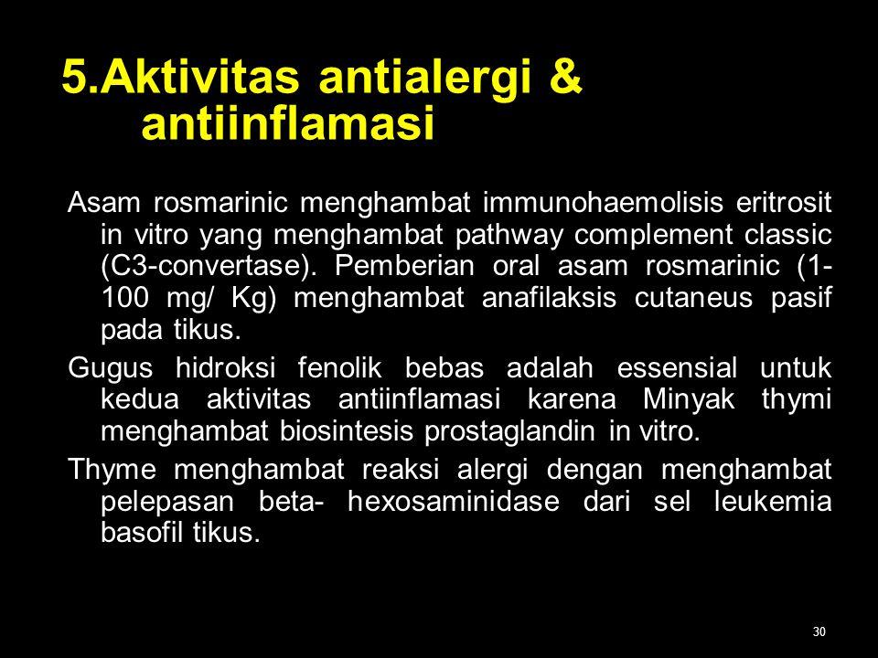 5.Aktivitas antialergi & antiinflamasi