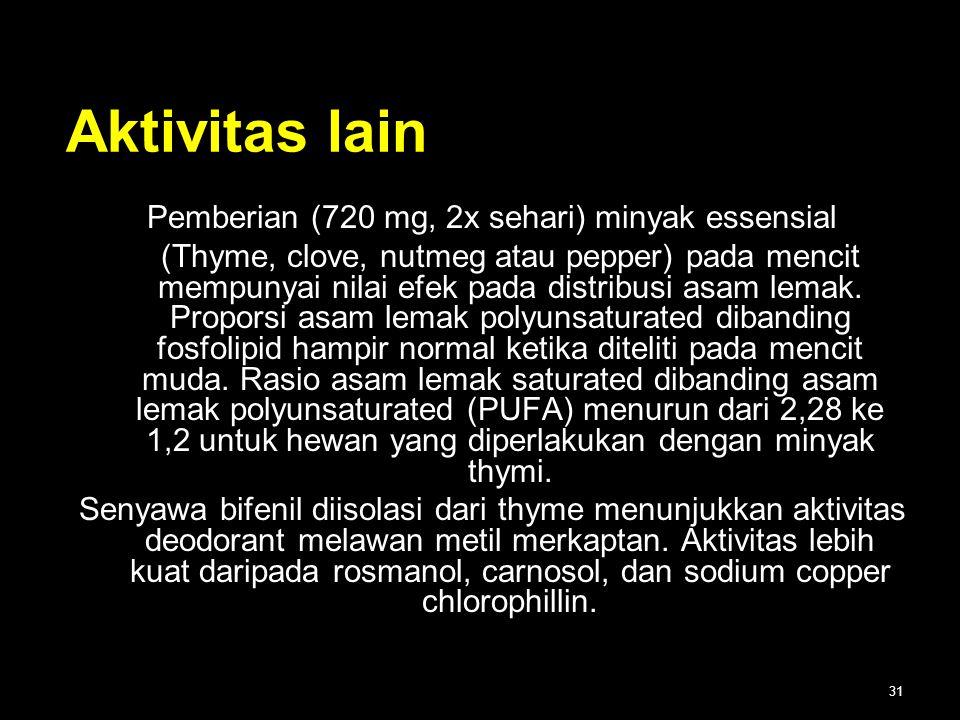 Pemberian (720 mg, 2x sehari) minyak essensial