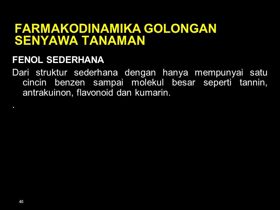 FARMAKODINAMIKA GOLONGAN SENYAWA TANAMAN