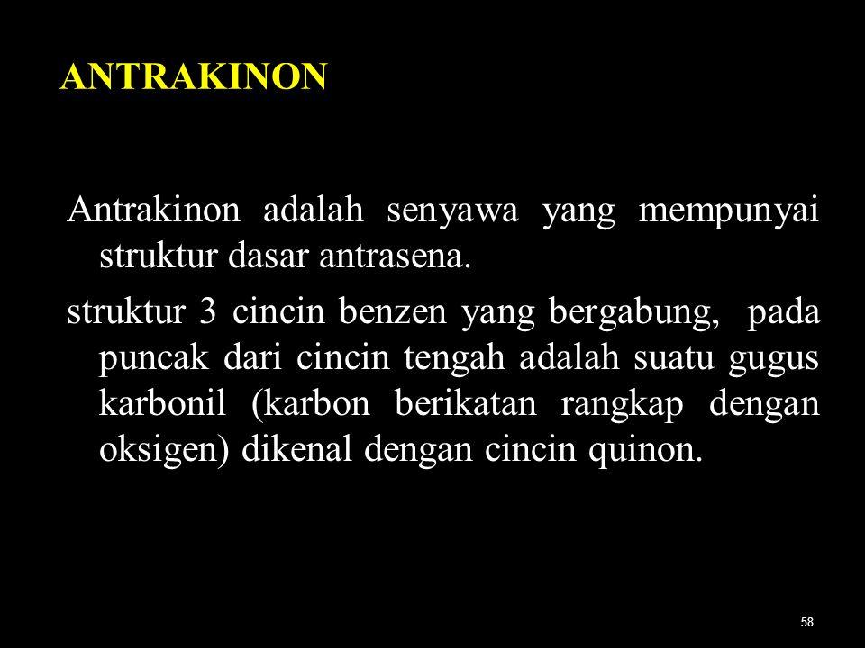 ANTRAKINON Antrakinon adalah senyawa yang mempunyai struktur dasar antrasena.