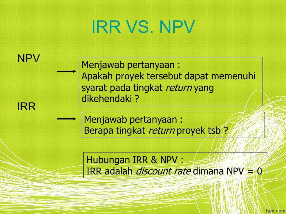 IRR VS. NPV NPV IRR Menjawab pertanyaan :