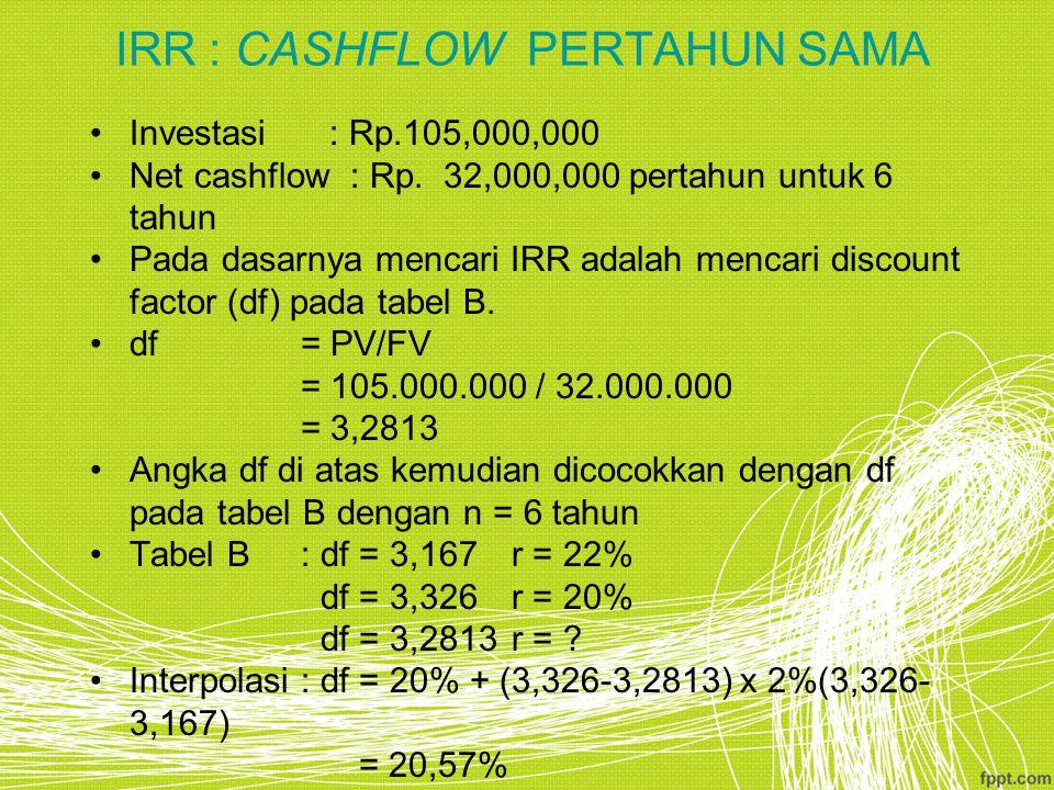 IRR : CASHFLOW PERTAHUN SAMA