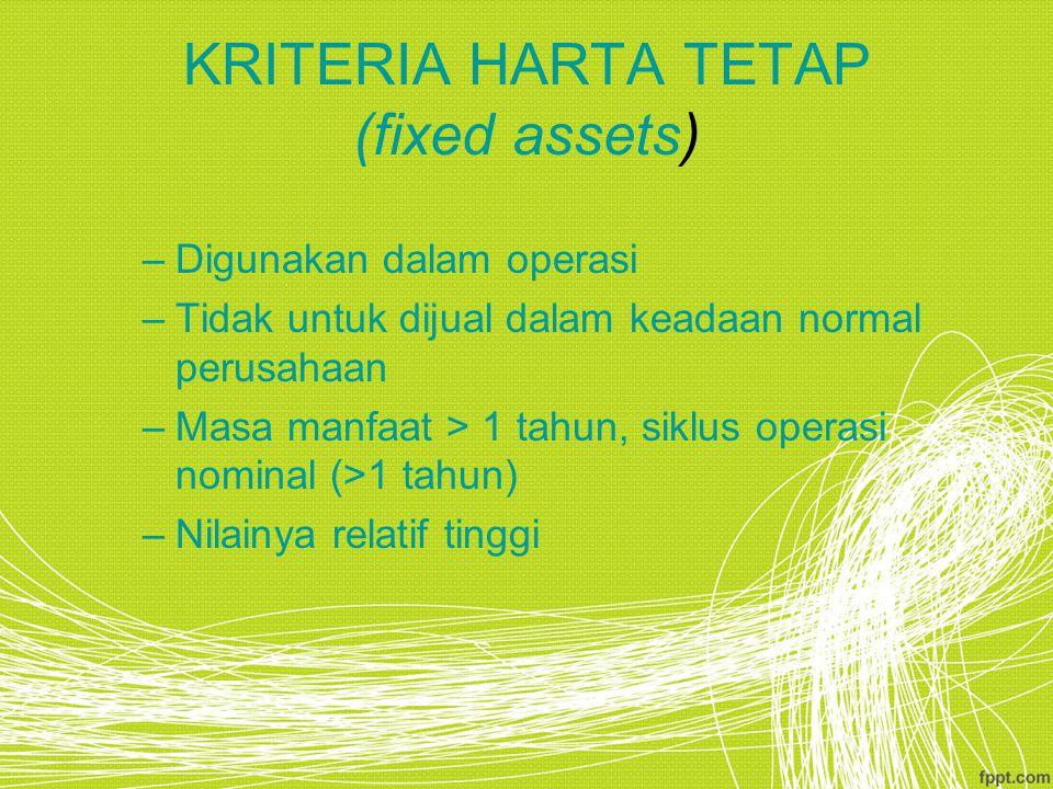 KRITERIA HARTA TETAP (fixed assets)