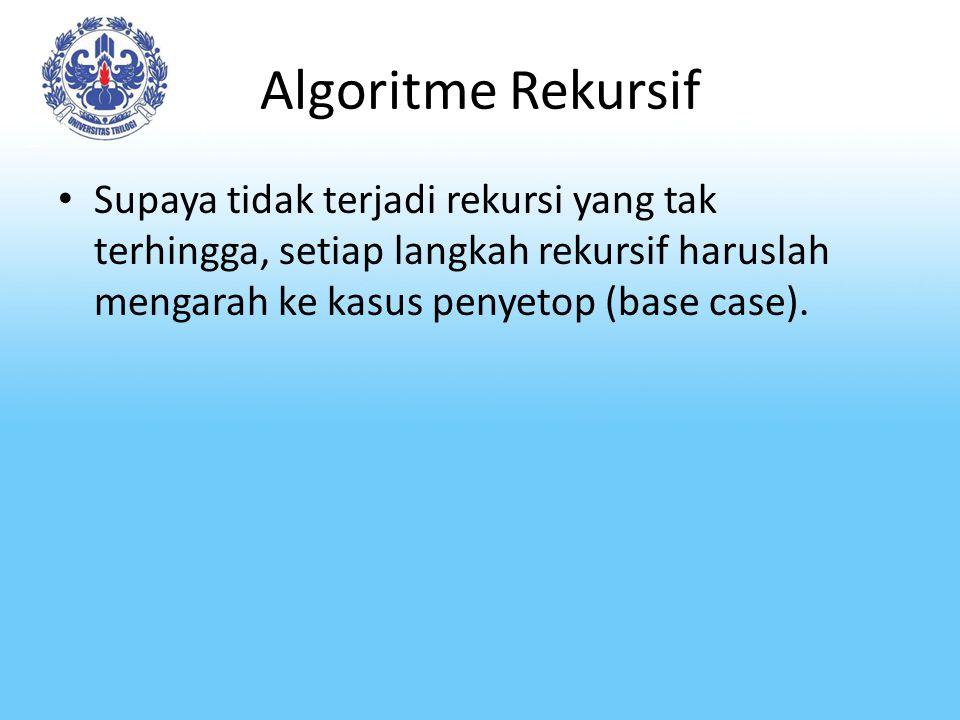 Algoritme Rekursif Supaya tidak terjadi rekursi yang tak terhingga, setiap langkah rekursif haruslah mengarah ke kasus penyetop (base case).