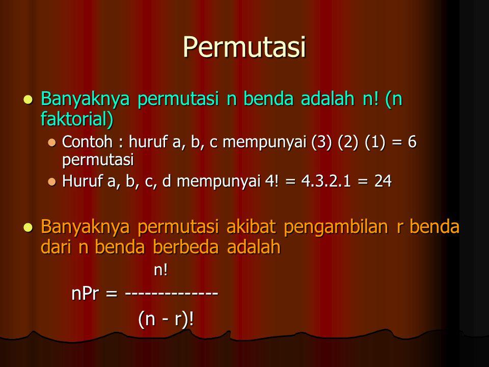 Permutasi Banyaknya permutasi n benda adalah n! (n faktorial)