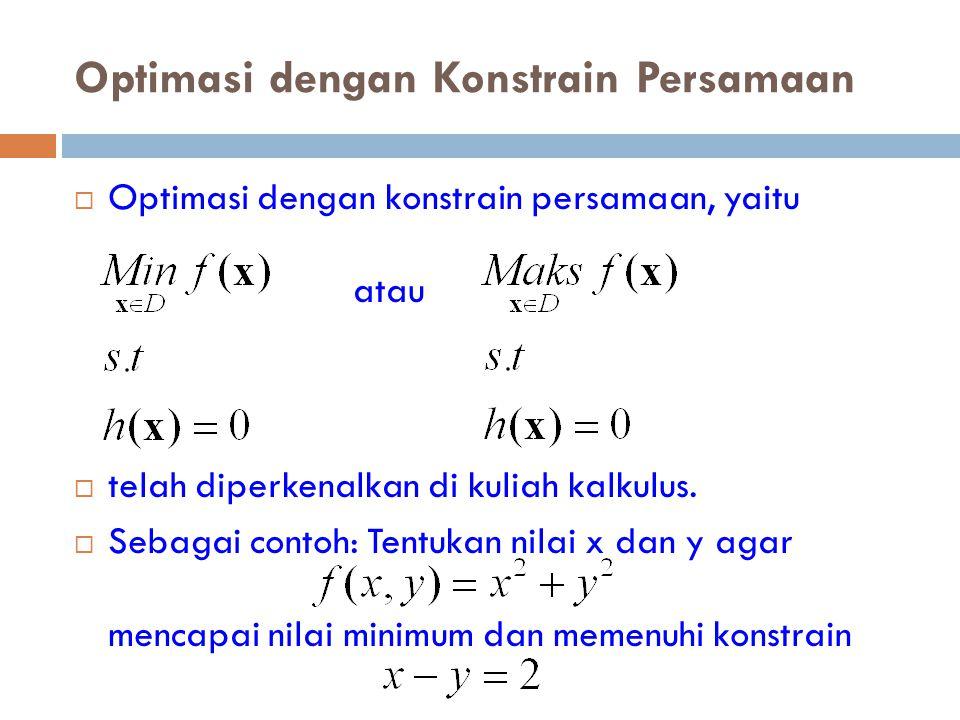 Optimasi dengan Konstrain Persamaan